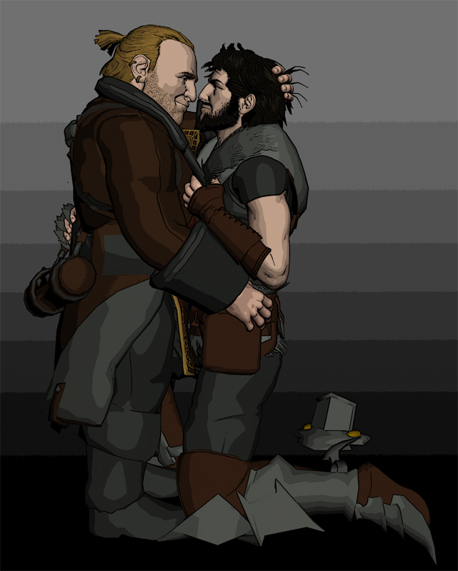 Hawke and Varric by deathoflight