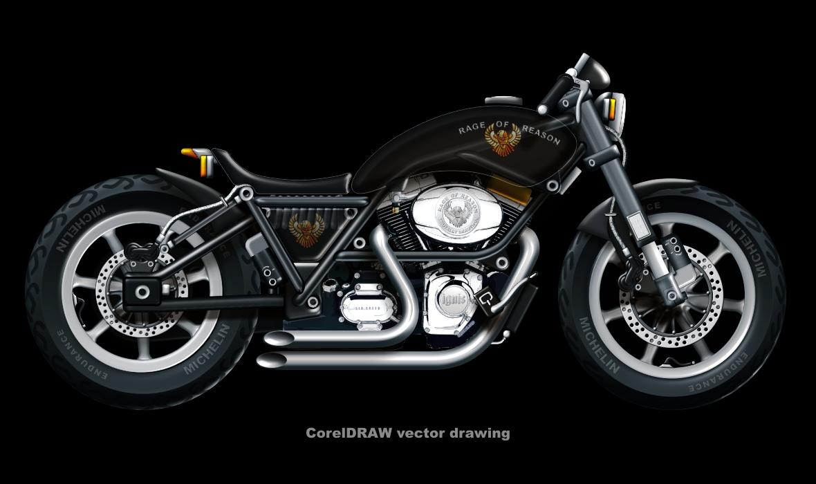Harley-Davidson vector drawing by rageofreason