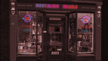 Nostalgic Grails shop window and neon signs
