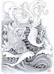 Golden carp tattoo by Koggg