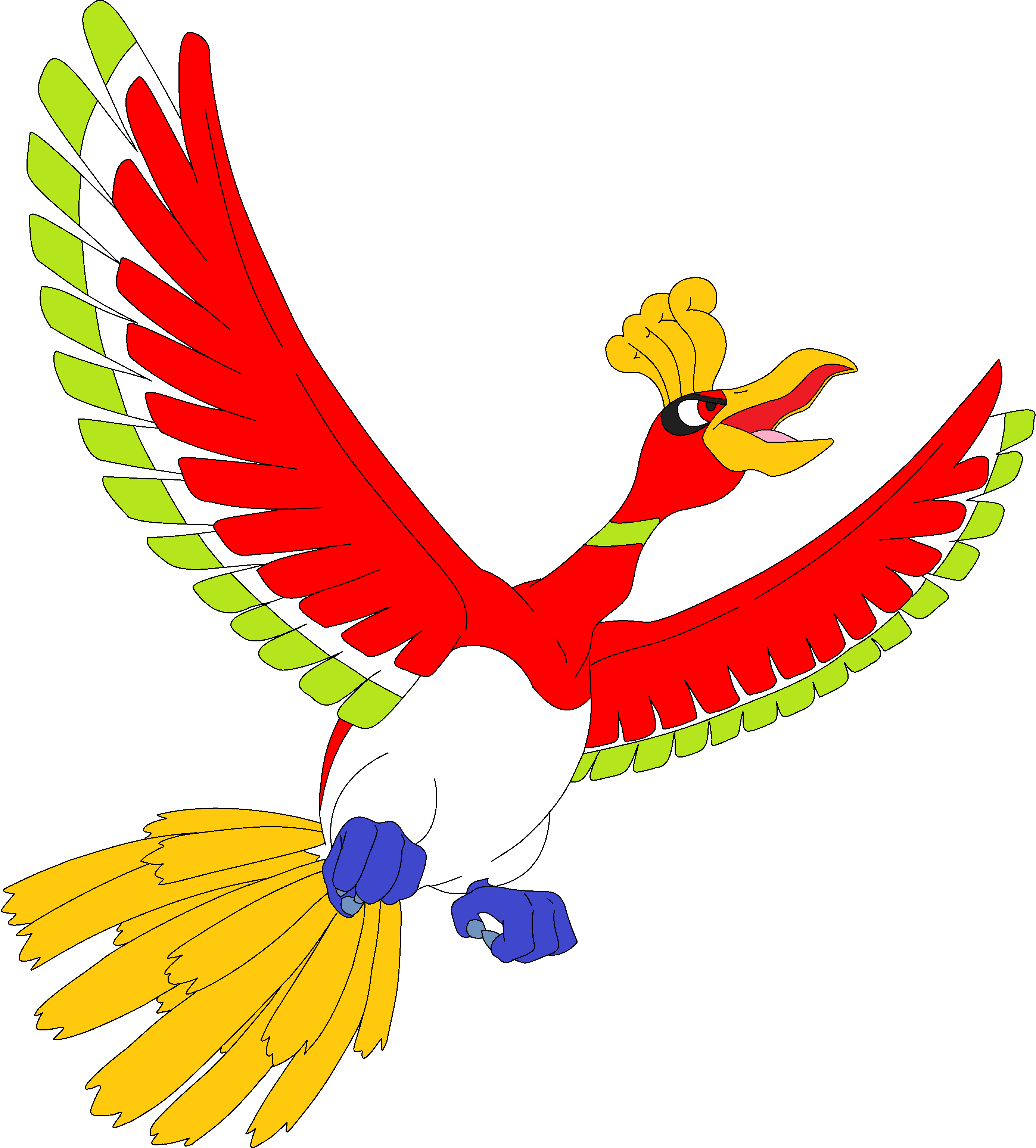Ho-Oh Lineart by kasanelover