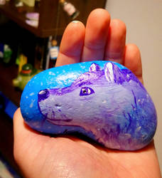 Wolf stone painting by KatiesPetPawtraits