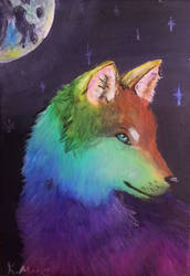 Rainbow Wolf by KatiesPetPawtraits
