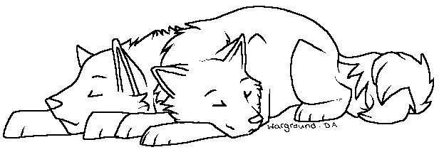 -- Wolf Couple Lineart by Warground
