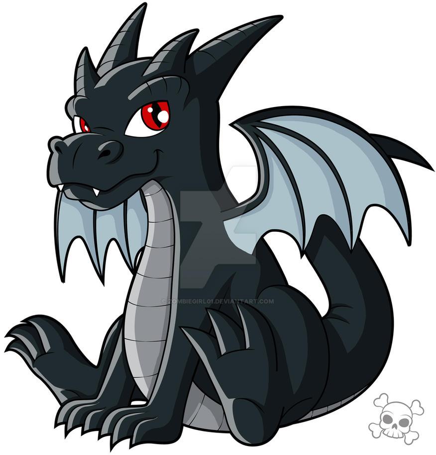 cute black dragon by zombiegirl01 on deviantart