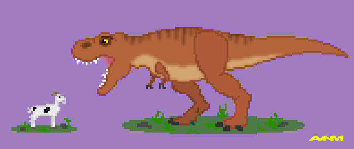 Rex and Goat Pixel Art