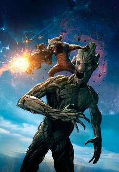 GOTG: Rocket And Groot [Hi-Res Textless Poster]
