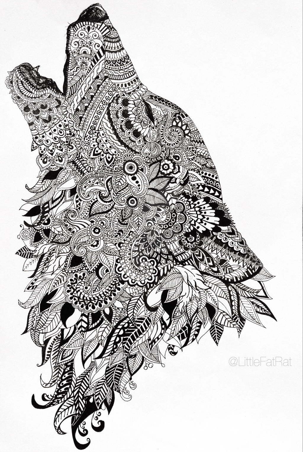 howling wolf zentangle by littlefatrat on deviantart