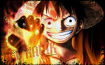 In honor of Fire Fist Ace, Luffy with a fire fist.