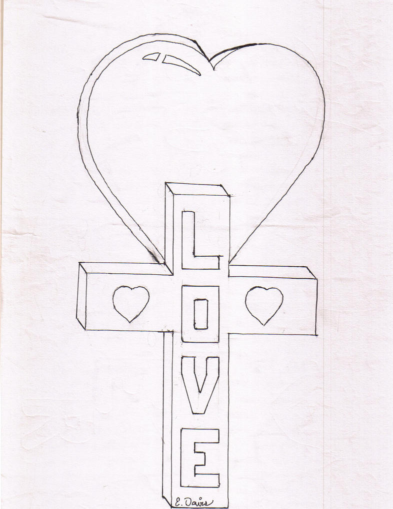 Cross Drawings With Hearts