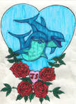 dolphins with roses