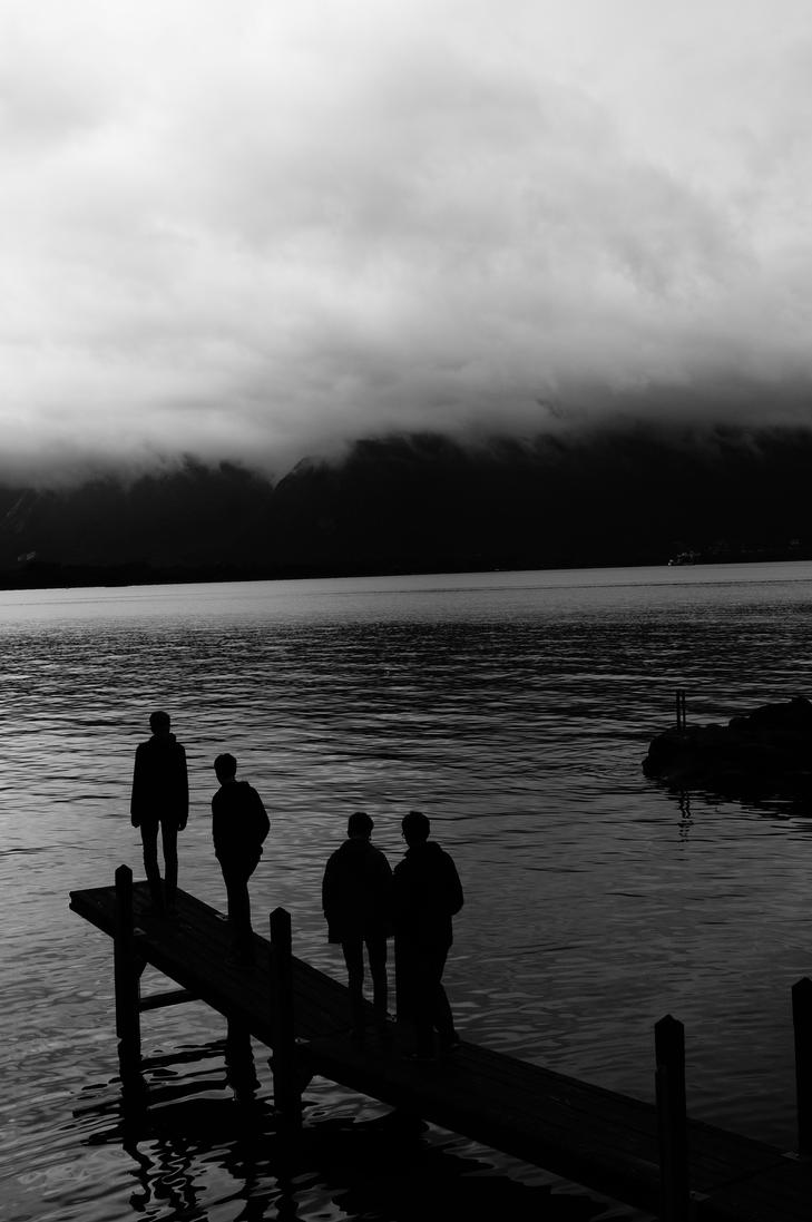 Four men standing Chateau de Chillon by Nyrey