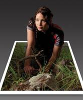 Katniss Everdeen - 3D Pop-Out Photo Effect by dreamarzh24