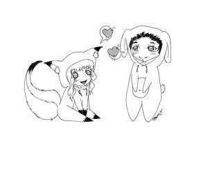 Fox loves Bunny by DaemonP