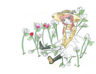 Fillette et fleurs by DaemonP