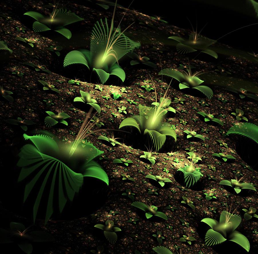 Earth, green leaves. by Kondratij