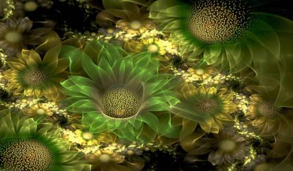 Green sunflowers. by Kondratij