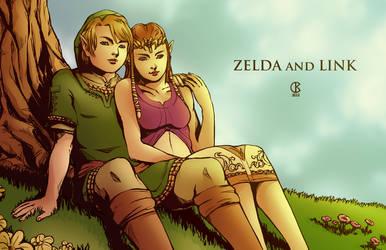 Zelda and Link by shrouded-artist
