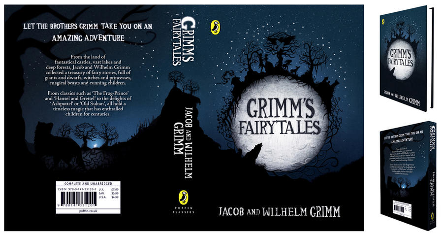 Grimm s fairy tales book jacket design by claireadele