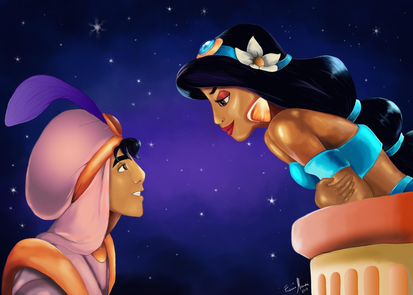 Aladdin and Jasmine - A Whole New World by eliselikesart