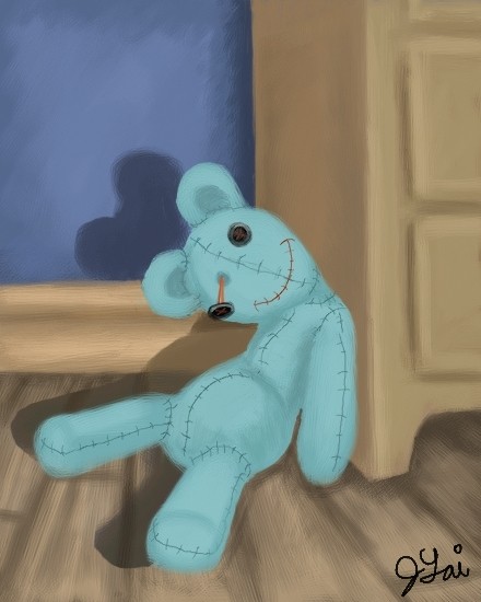 Creepy Blue Teddy by JLai