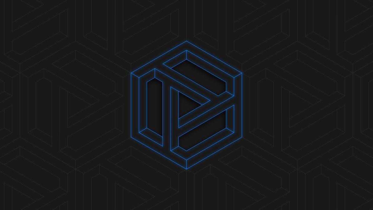 Penrose Cube Blue NEON - 4k Desktop Wallpaper by matijadananic