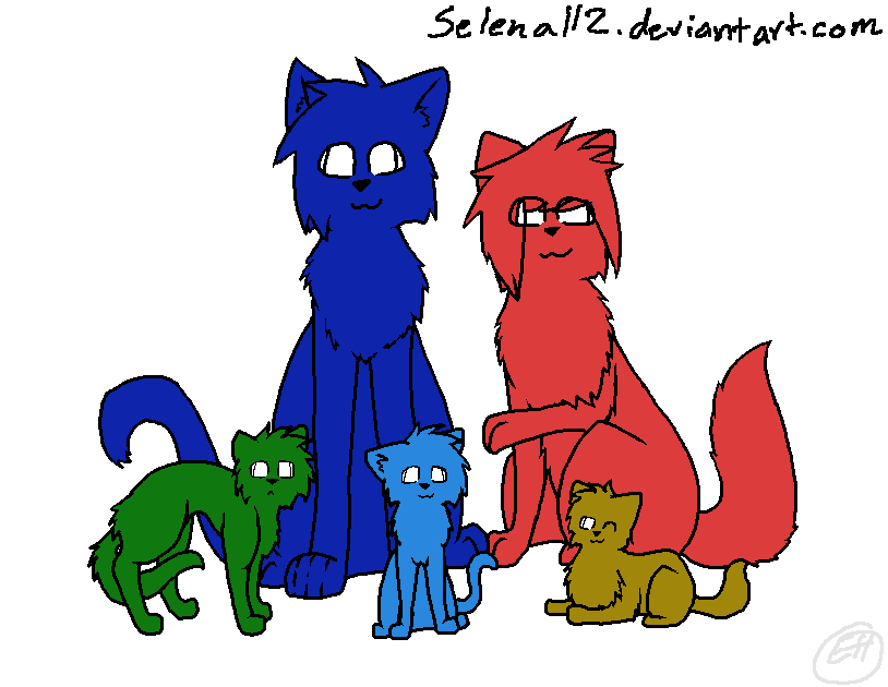 Feline Family Lineart by Selena112