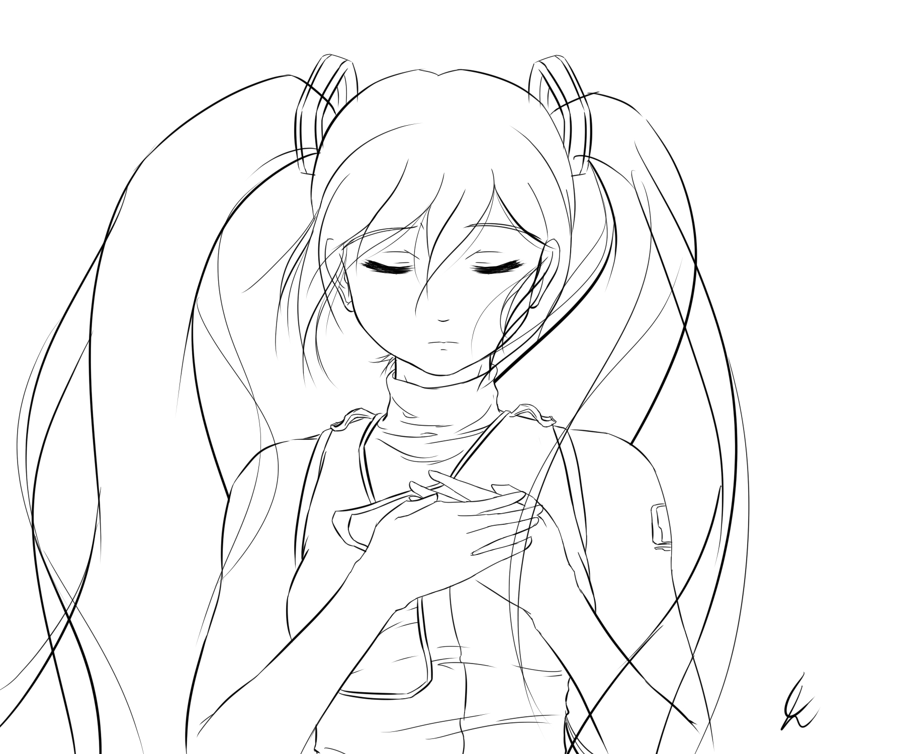Hatsune Miku -lineart- by Indignation on DeviantArt