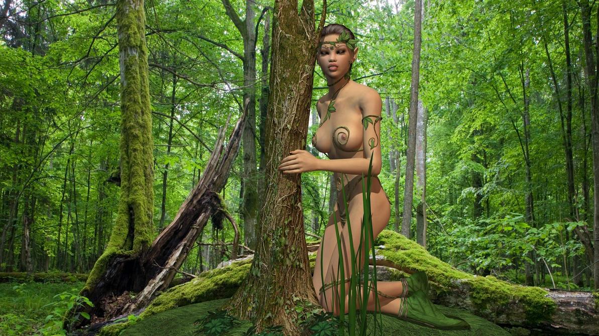 Dryad with tree by SlimerJSpud