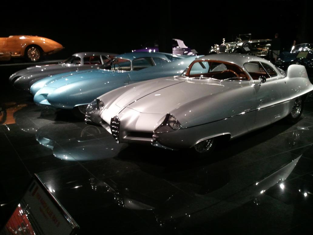 Alfa Romeo B.A.T. cars in a museum by SlimerJSpud