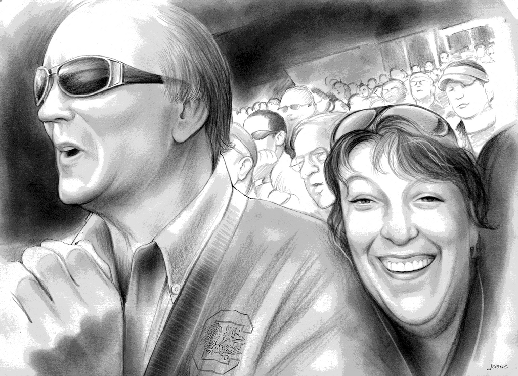 Liz and her Dad at a Gamecock Game by gregchapin