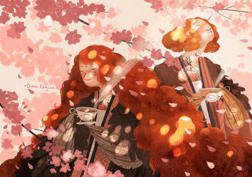 Spring birds and the blooming cherry tree by Dferous