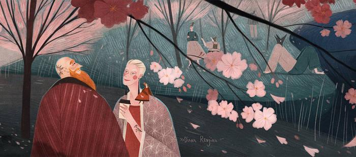 Illustrated Riga guide: blooming sakura trees