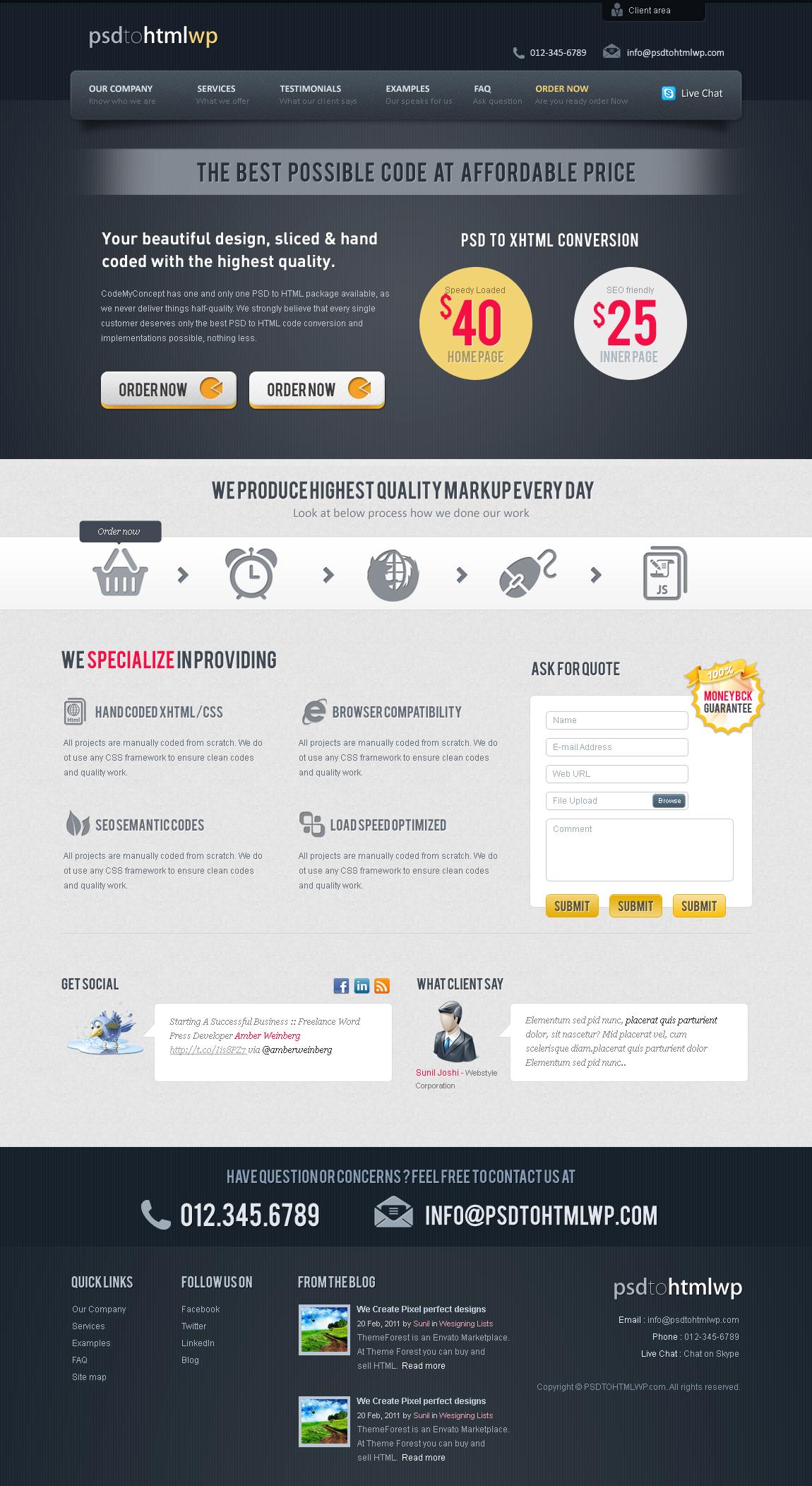 PSD to HTML WP