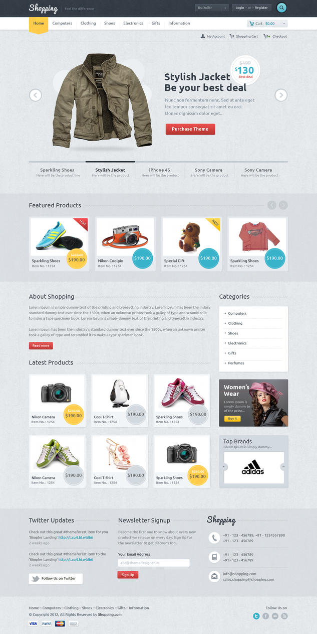 Shopping ecommerce theme by sunilbjoshi on deviantart for Website design for online shopping