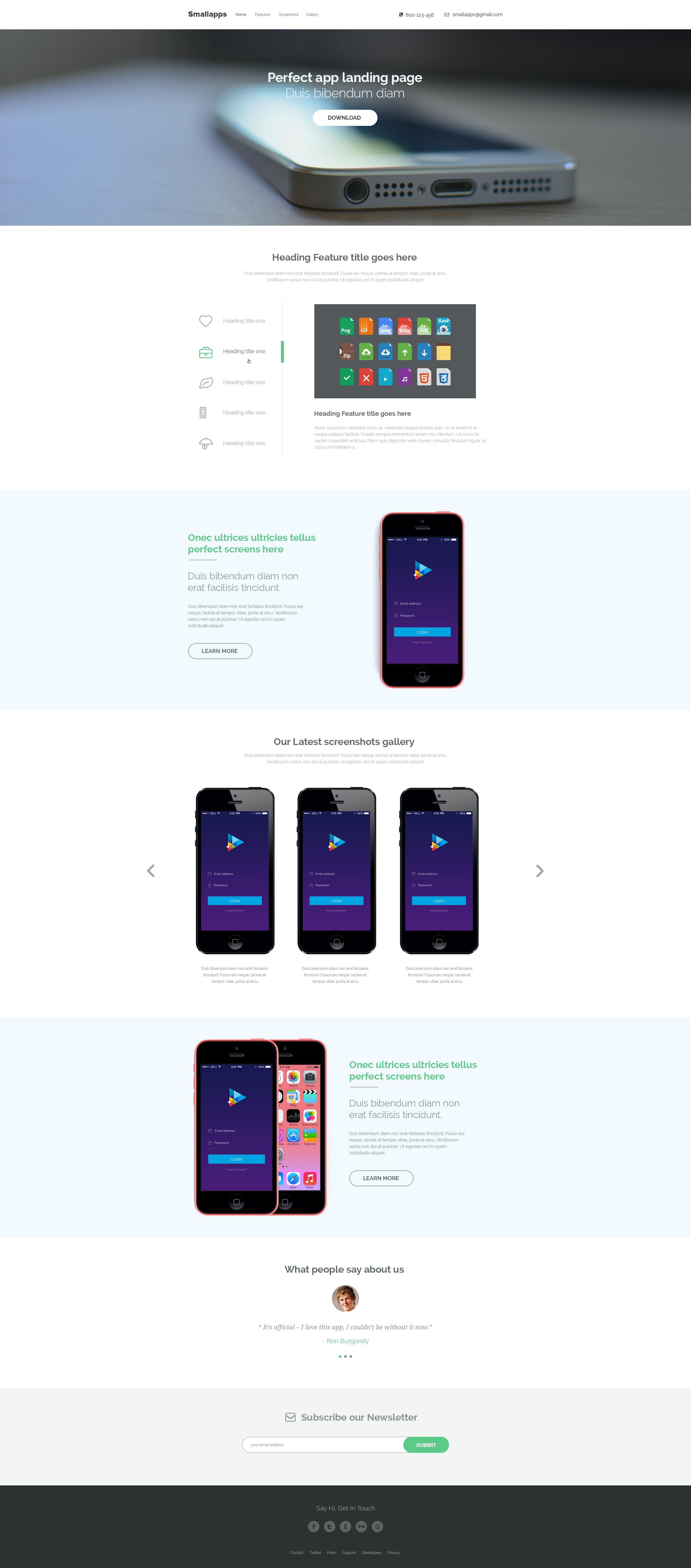 Smart App Landing Page PSD - FREE