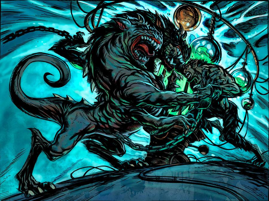 HIgh moon Two headed Werewolf by Steve-Ellis