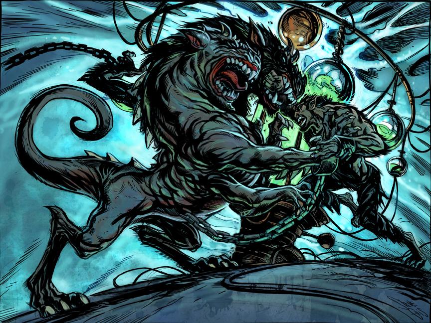 High Moon 4 Werewolf Fight by Steve-Ellis