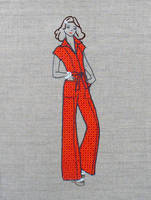 Embroidery lady in an orange jumpsuit