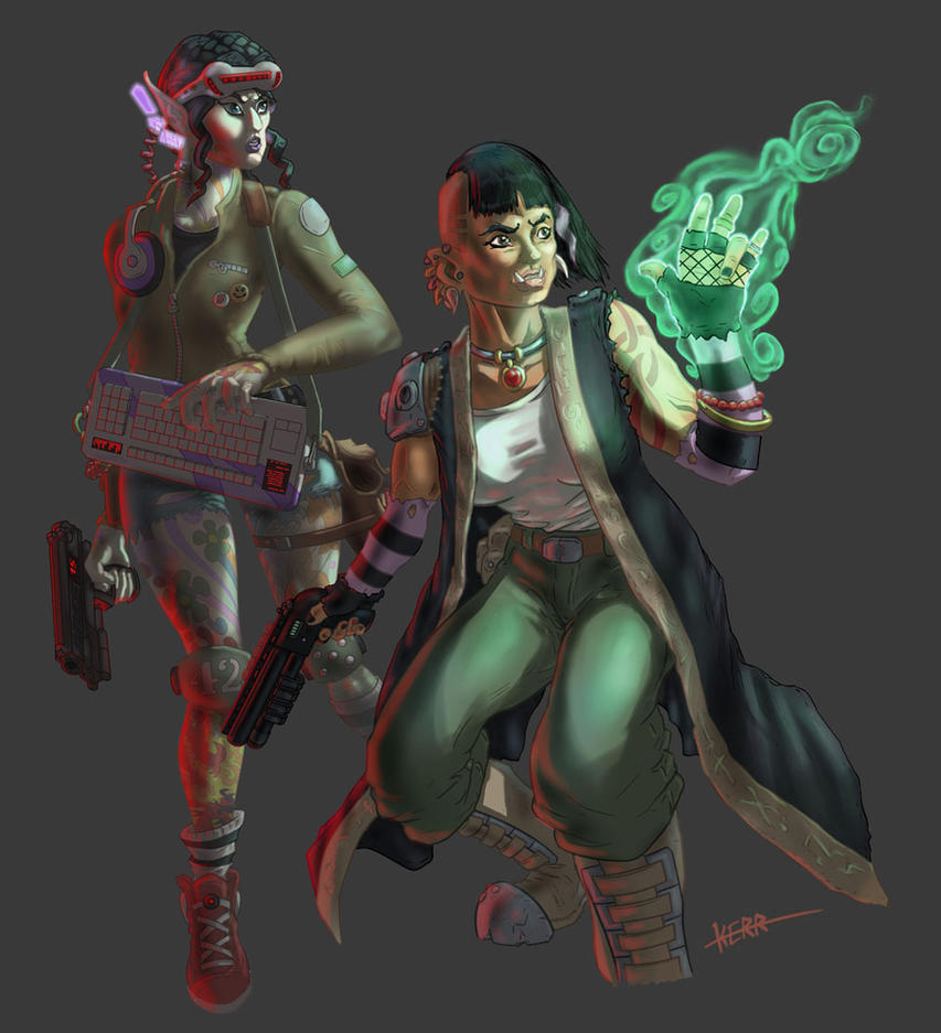 Shadowrun Characters Elf Decker and Ork Mage by Thewog