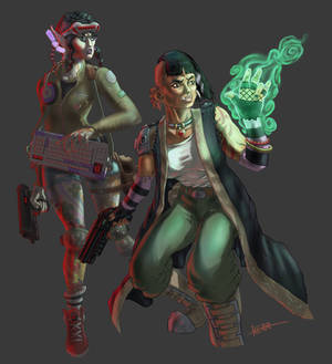 Shadowrun Characters Elf Decker and Ork Mage