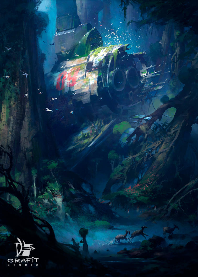Forest shipwreck by Grafit-art
