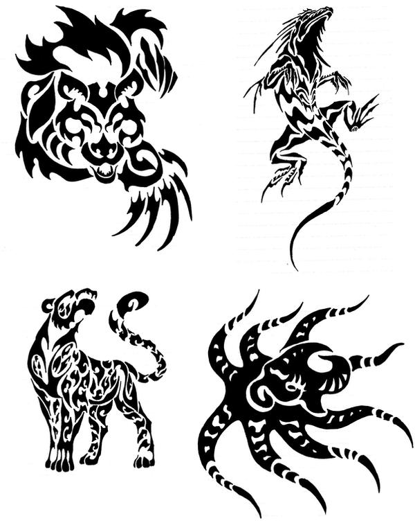 animal tribal tattoos by canyx on deviantart. Black Bedroom Furniture Sets. Home Design Ideas