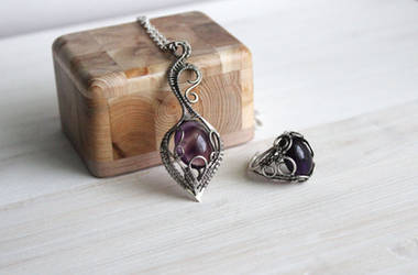 Amethyst necklace and ring by OlgaMryga