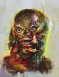 The Wolfman vs The Creature from the Black Lagoon by diazartist