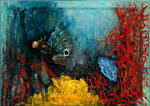 Roused Butterfly Blenny and his Blue Jet