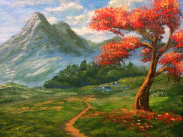 Firetree and a mountain by llenllawg