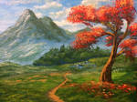 Firetree and a mountain