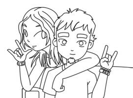 The Cute Couple 02 - line art by Chrisboe4ever