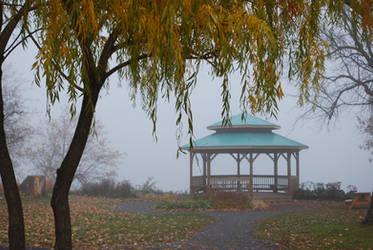 Kiosk in the fog by KameleonKlik